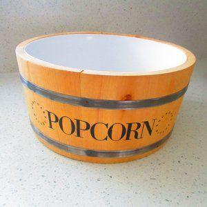 Wooden Popcorn Bowl Barrel Design NEW